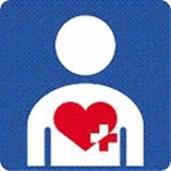 身体内部(心臓、呼吸機能、じん臓、膀胱・直腸、小腸、肝臓、免疫機能)に障害がある人を表すマーク