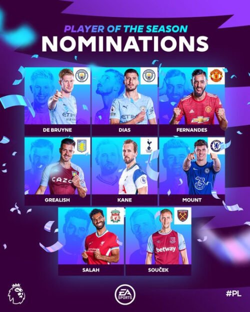 See the players shortlisted for Premier League Player of the Year Award