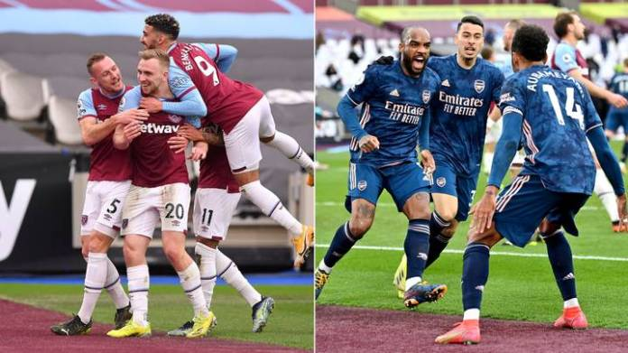 Arsenal fight back to draw 3-3 at West Ham