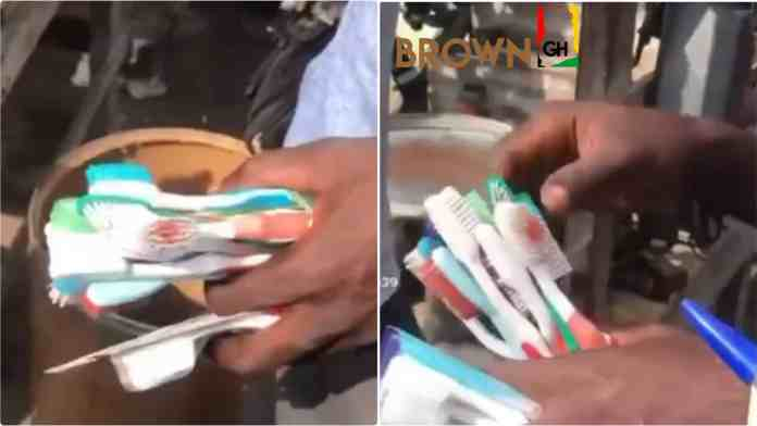 Ghanaian man spotted selling home used toothbrushes in the market (Video)