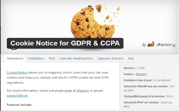 plugins : cookies notice