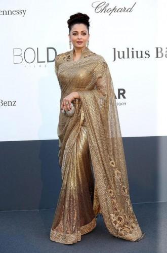 Aishwarya Rai attended the amfAR gala in a Tarun Tahiliani sari Source: Pink Villa