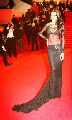 Sherlyn Chopra in a Raza Shariffi black dress. She is at Cannes for her upcoming movie Kamasutra 3D.  Source: Sherlyn's Twitter