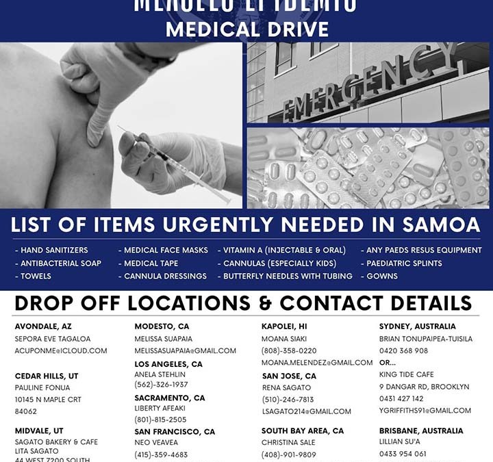 MEDICAL SUPPLIES DRIVE FOR SAMOA'S MEASLES EPIDEMIC