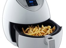 LOUISE STURHLING Advanced 1500W Air Fryer AF-K1WH01, LCD Easy Use Touchscreen Technology with 8-in-1 Pre-programmed One-touch Cooking Settings, 3.5 QT, Free Recipe book