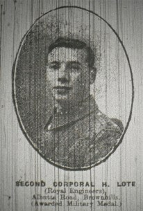 Second Corporal H. Lote (Royal Engineers) Albutts Road, Brownhills (Awarded Military Medal)
