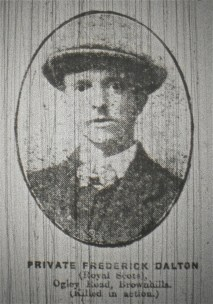 Private Frederick Dalton (Royal Scots) Ogley Road, Brownhills (Killed in action)