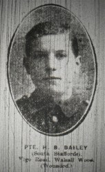 Private H.B. Bailey (South Staffords) Vigo Road, Walsall Wood (Wounded)