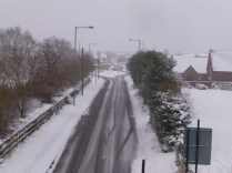 Clayhanger lane was reasonably clear at 4:30pm - but the snow was settling fast.