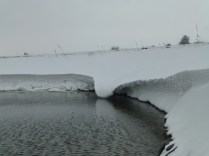 The exposed, elevated nature of the dam area caused interesting ice sculptures to be made by the wind.