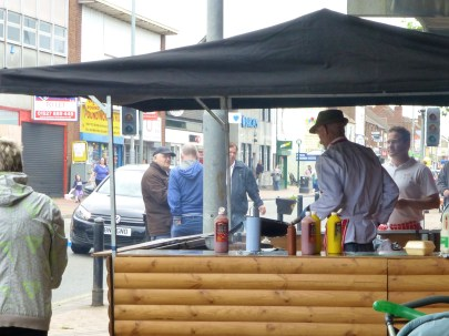 The burgers from the barbecue outside Symes' butchers were really, really nice.
