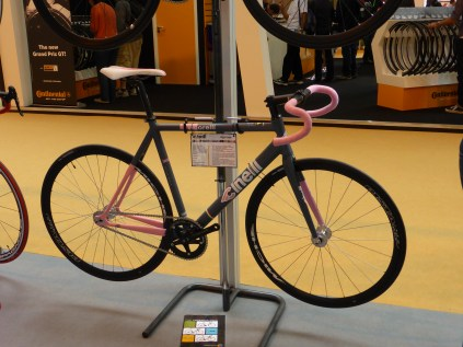 This is a ladies bike. We know this because it has a partially pink paint job. When will the industry get over this?