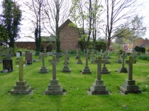 Haunton churchyard - the somber graves of nuns from the local convent, which still exists.