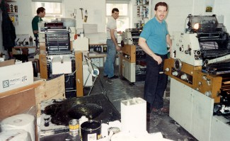 The press room run by Ian, David & Mark Sylvester with the presses used at the time to produce the Brownhills Gazette. Image very kindly supplied by John Sylvester.