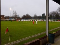 In worsening driving rain and on a greasy pitch both sides managed to play good attacking football throughout the first half. Image kindly supplied by David Evans.
