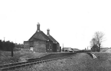 Posted by Si Swain on Facebook who says 'Walsall Wood station in 1947 some 17 years after the withdrawal of passenger services and by which time the line had been singled.'