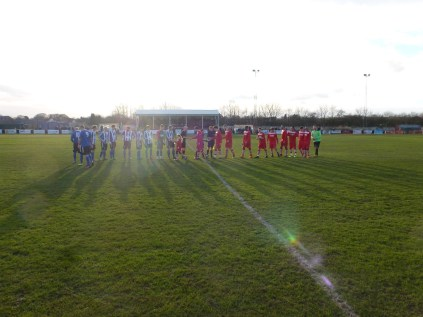 The customary handshake before the start of what turned out to be a thrilling match of high quality football and sportsmanship by all the players.