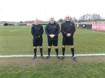 Match officials Messrs Carroll, Koni and Gillespie kindly pose for a photo for the blog, bless em!