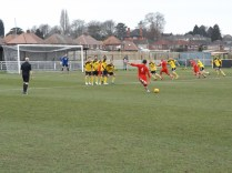 This well-aimed free kick so nearly brought a goal for Walsall Wood