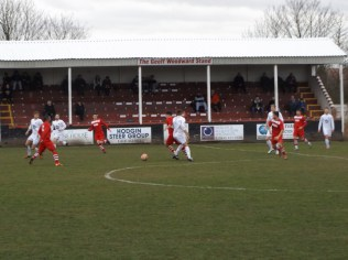 Westfields and Walsall Wood in mid-field action in the second half