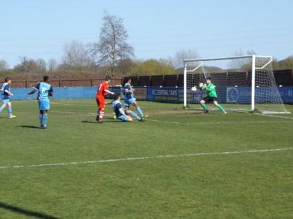Long Eaton goalkeeper had to work hard today
