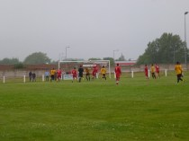 In heavy drizzle throughout the match both sides succeeded in playing good football
