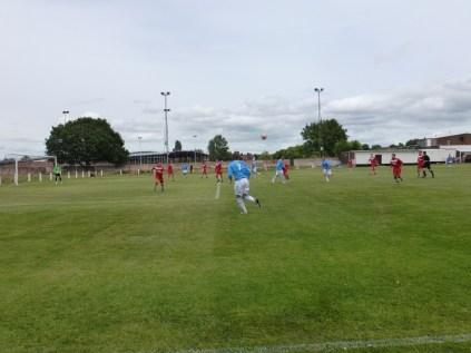 Hednesford on the attack, with the new sports centre in construction in the background