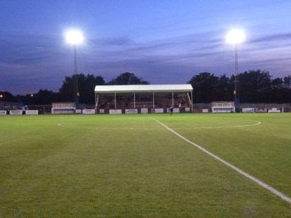 Soon to be filled to capacity, the Geoff Woodward stand before the match