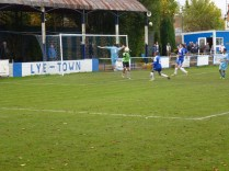So close as Lye goalkeeper intercepts a confident move by the Wood.