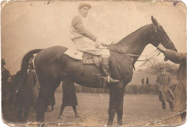 "Grandfather aboard ""the Squire"" 29th March 1922 see back of photo. This was at the Meynell Hunt Point to Point."
