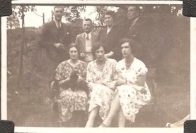Front L-R my aunty Peggy, the two Loader sisters Elsie and Maud, back row my dad Harry Headley, Bob Rix (Peggy's husband they were builders in Sutton Coldfield), my gran and my grandfather Harry Slyfield ( jockey) taken behind the School House at Hints.