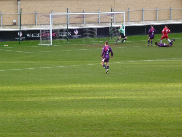 Joey Butlin breaks through the Loughborough defence to score his second goal of the match