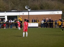 One of Alvechurch's high rise players in action early on in the game