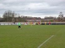 Shepshed early attacking move in the first half, with a strong wind at their backs