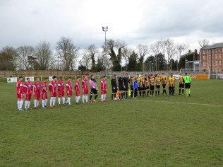 Pre-match line-up in the shadow of the old mill. Ominous, perhaps?