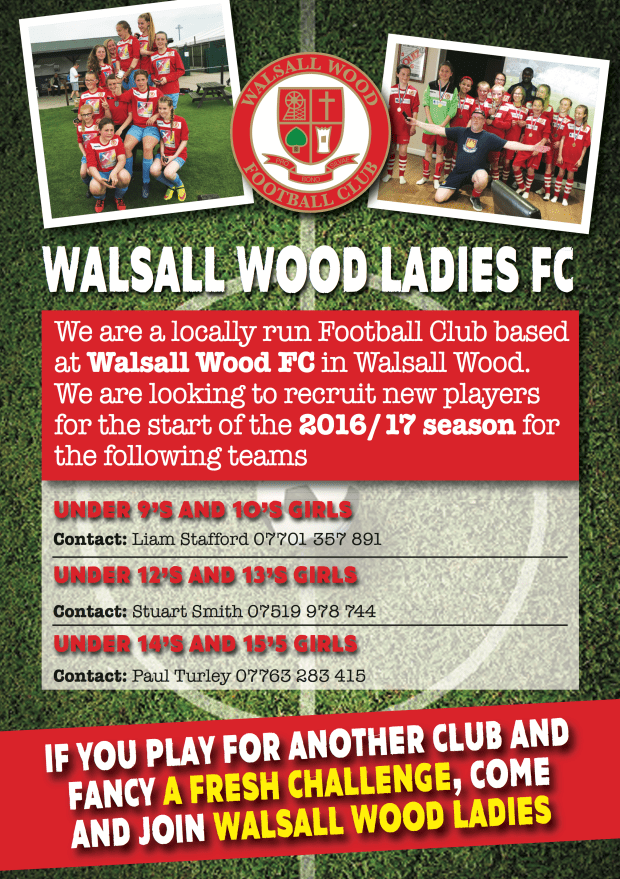 WALSALL WOOD LADIES Recruit A5 EMAIL (1)