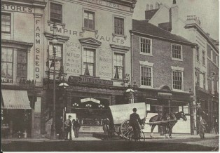 The Empire Music Hall, Queen's Square c 1890. Later the site of the Empire Palace Theatre (Hippodrome) itself demolished in 1961 to make way for Times Furnishing.