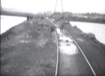Earlier in the day the train had crossed the causeway on its way back to Brownhills West.