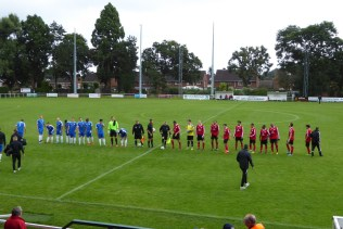 The Wood played in all blue strip, AFC Wulves in red tops with black bottoms