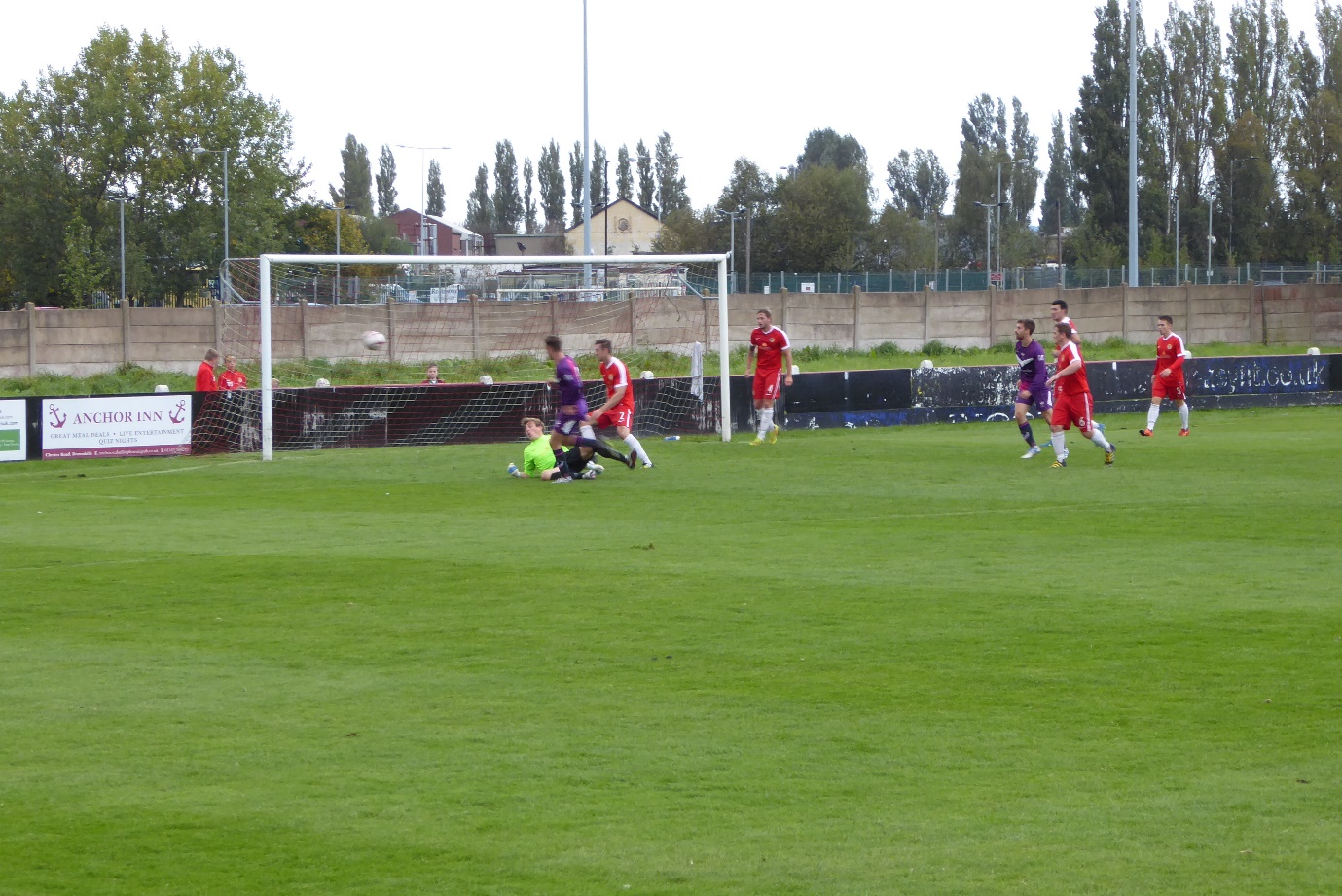 So close as the Wood's keeper responds well in this first half foray by Loughborough