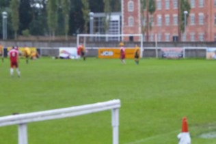 Wood score their second goal; in the driving rain, in Rocester, in October.