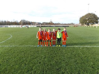 Half time line up of the Lions, Walsall Wood Saints under 7 .