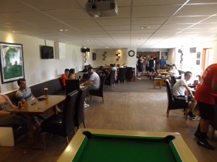 And the under 18s relaxing after a charity match.