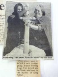 1996: Newspaper clipping showing Paul Burton and Jean Taundry
