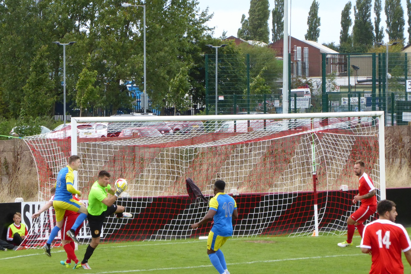 The Wood's goalkeeper makes a super save, leaving a Tividale player clattering in to another player, but they pose a increasing threat as the second half evolves