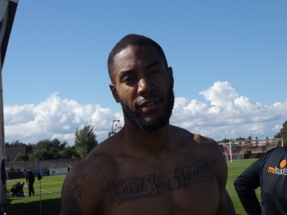 One of the Wood's new players, with a wonderful tattoo!