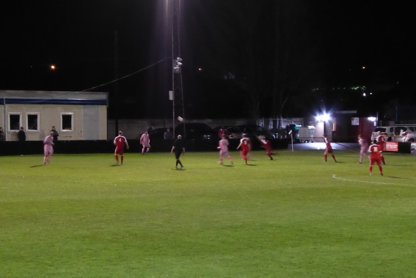 My camera was working at its very limit and this long range shot does not reflect the pace of the play, or frequent hard tackles the Wood had to negotiate to break through towards the opponents goalmouth, with its resident, a giant of a ( very good ) goalkeeper.