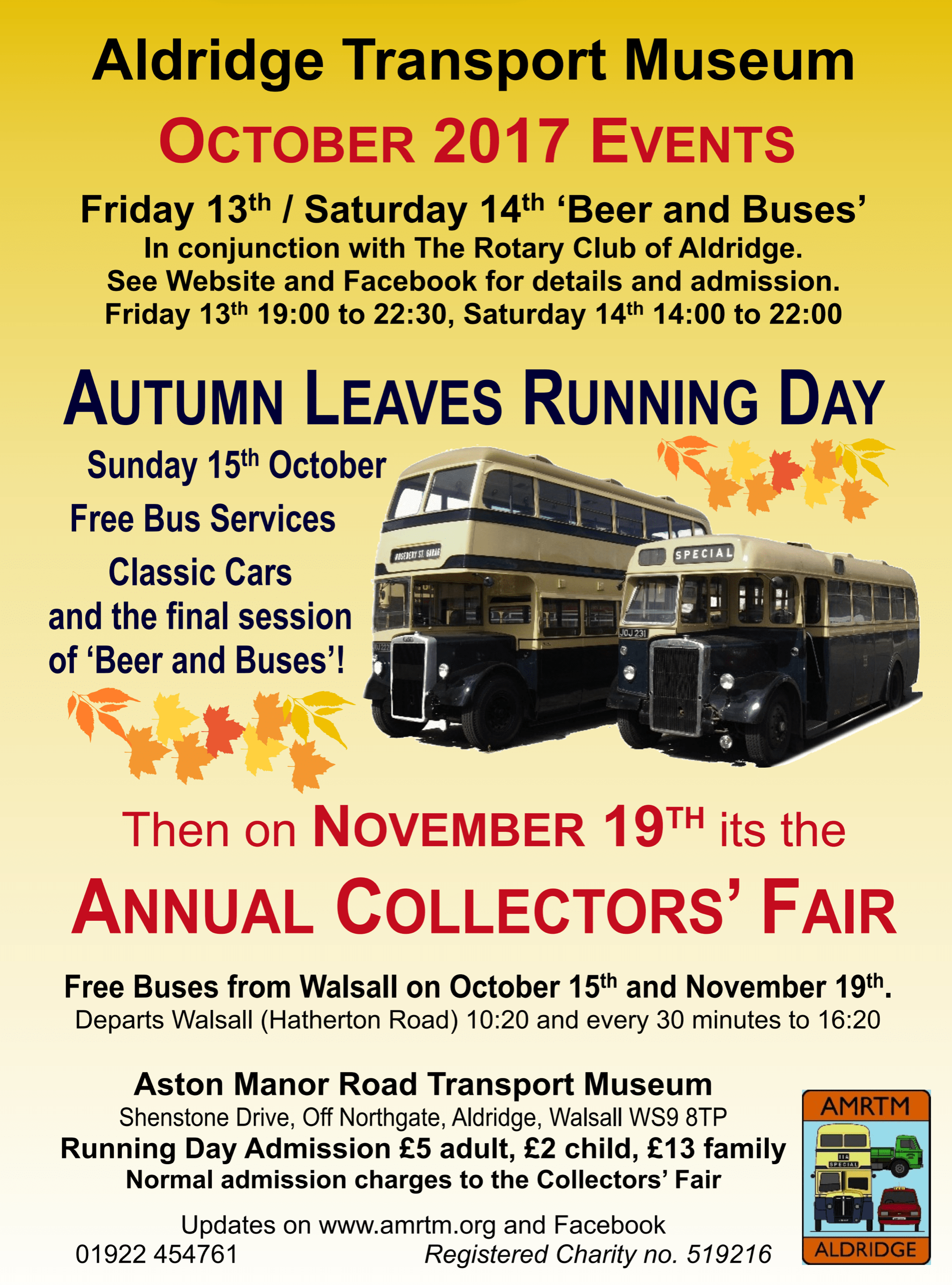 Autumn Leaves Running Day At Aldridge Transport Museum This Sunday And The Finale Of Beer And Buses
