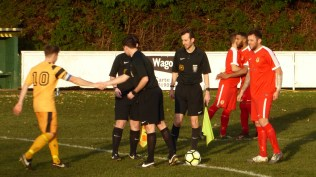 Match officials happily greet Stourport captain before the match started. Interesting.