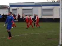 Celebration time, First goal. Hairstyles left un-ruffled. Too blinking cold, today